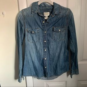 Forever 21 Denim Button Up Collared Shirt
